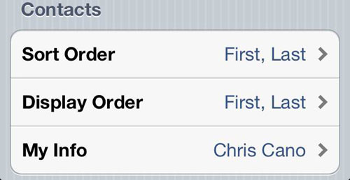 iPhone Contacts Sort Order