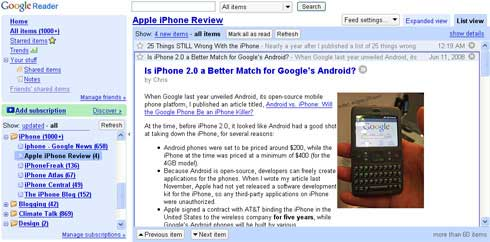 Apple iPhone Review on Google Reader