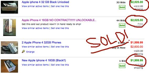 iPhone 4 on eBay