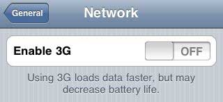 iPhone disable 3G