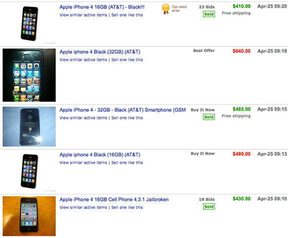 eBay iPhone Completed Listings