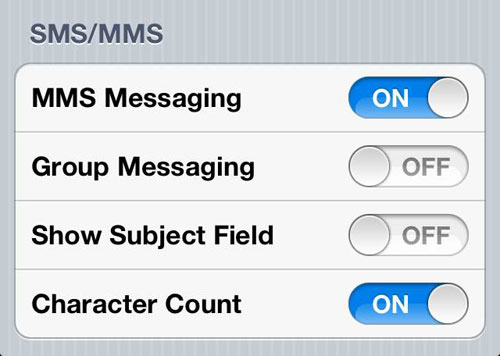 iPhone Text Message Character Count