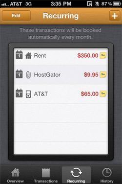 MoneyBook Recurring Transactions